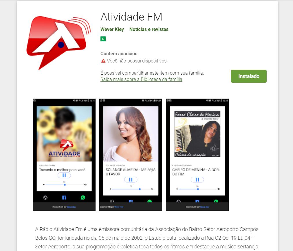 Atividade FM agora está na Play Store